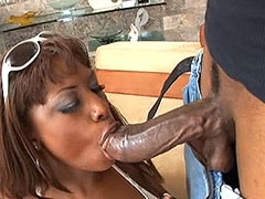 Chubby black whore sucking big black cock and hard fucking