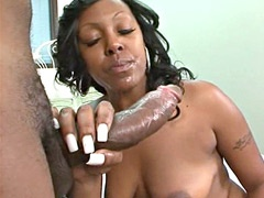 Hot ebony babe bunged by big black african cock on bed