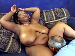 Huge titted ebony MILF Miss Royalynn gets her chubby twat licked from old man