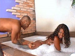 Black whore getting hot massage her ass in bath tub and hardcore fucked