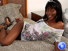 Slim black shemale strokes her cock and shakes that fine ass