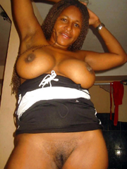 Aged ebony nudists, she's not shy..