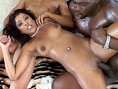 Horny latin babe fucked by big hard cocks and facial cum covered