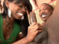 Sexy ebony babe jerking cock and banged by big cock