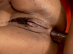 Black babe gets a cock deep in her ass