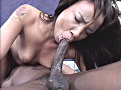 Horny ebony slut getting penetrated in wet shaved pussy